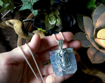 Seed of Life-  Extra Large Celestite Necklace