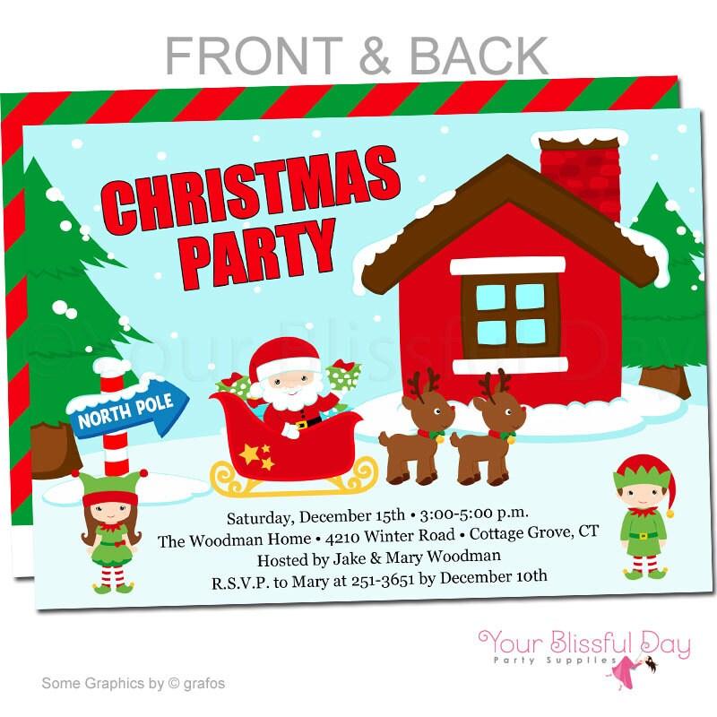 Christmas Santa Party Invitation Holiday Party Invitations