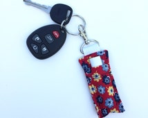 Red Yellow Navy Flowers Lip Gloss Keychain - Lip Balm Clip, Flowered Chapstick Holder, Lip Balm Holder, Lip Balm Keychain, Inexpensive Gift