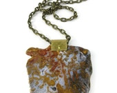 Botryoidal Agate Slab Necklace | Raw Organic Statement