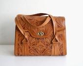 Tooled Satchel Handbag