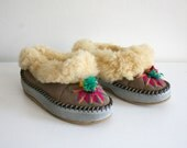 Embroidered Pom Pom Fur Slippers