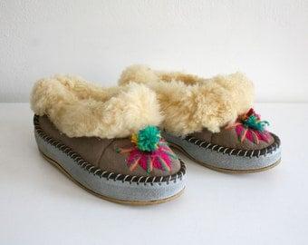 Embroidered Pom Pom Fur Slippers