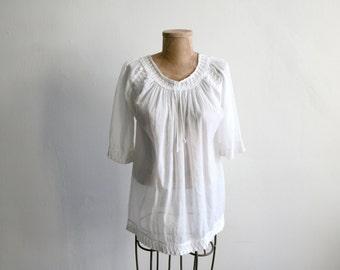 Cotton Gauze Boho Sheer Blouse