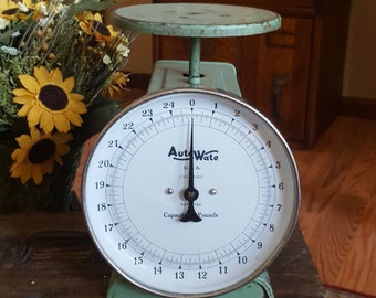 Rustic AutoWate Scale in Chippy Green - Farmhouse Primitive - Oak Hill Vintage