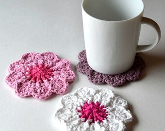 Hibiscus Flower Coasters, Set of 4, Housewarming or Hostess Gift, Summer Decor, Floral Mug Rugs, Floral Table Decor, Gift Wrap Available