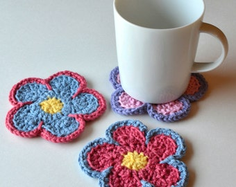 Flower Power Drink Coasters, Set of 4, Housewarming or Hostess Gift, Groovy Floral Summer Decor, Cute Teen Gift, Gift Wrap Available