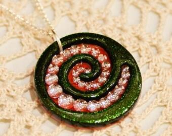 Dazzling Spiral Necklace // Dichroic Fused Glass Pendant // StephGlass Original Art