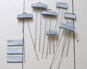 COLLECTION of Vintage Zinc Garden Plant Markers - Set of 7 plus blanks