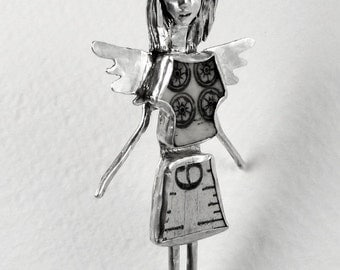 Angel Blake Likes Being Different - Up Cycled Sterling, Mahjong Tile, Ruler, And PMC - Woman - Empowerment - Art Jewelry Pendant - 1750