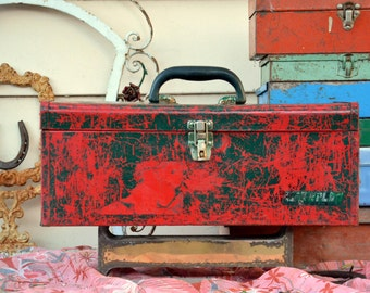 Vintage Rustic Red / Green Steel Toolbox: Industrial Box / Chest for Tools, Hardware, Sewing, Fishing Tackle -- Incredible Distressed Patina