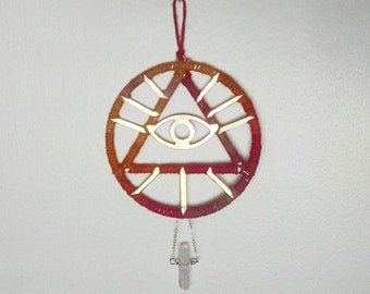 All-Seeing Eye Wall Hanging, Ombre Dreamcatcher, Crystal Wall Hanging, Bohemian Wall Decor, Eye of Providence Iconography