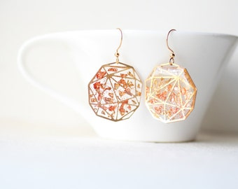 Shimmering Gold Copper Foil - Transparent Resin Geometric Earrings