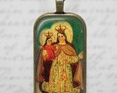 Holy Mother Religious Catholic Art Glass Tile Pendant Necklace Virgin Mary Child Jesus Old Art Jewelry