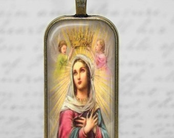 Mother Mary Blessed Virgin Glass Tile Pendant Christian Necklace Religious Holy Mother Necklace