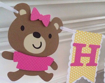 Teddy bear Happy Birthday banner - premade and ready to ship as shown
