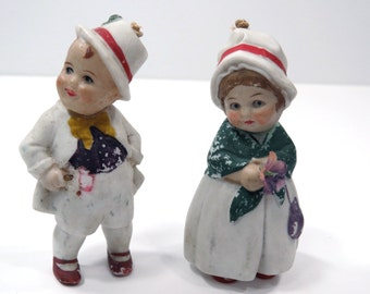 Irish Bisque Nodder Couple - Made in Germany - Antique Bobble Head Couple