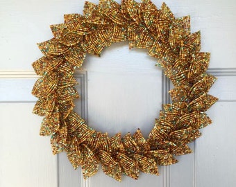 Natural Turquoise Blend French Beaded Decorative Wreath (Small)