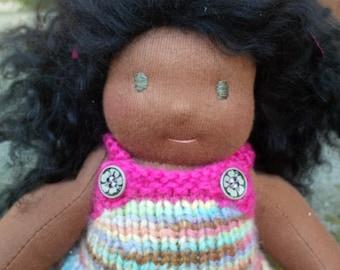 """10"""" jointed Waldorf doll, brown waldorf doll, natural doll"""