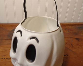 Vintage Empire Ghost Face  - Halloween Blow Mold Candy Bucket  - 16-730