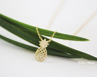 Pineapple Necklace in Gold/ Silver. Food Jewelry. Collarbone Necklace. Cute and Sweet. Fruit Jewelry. Gift For Her (PNL- 159)