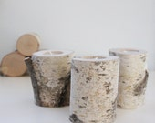 Sale-natural white birch wood candle holders - set of 3, log candle holders,  rustic wooden candle holders, tree branch