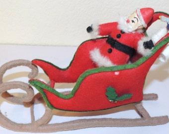 1950s  Santa and Sled FELT Decoration