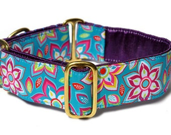 Martingale Collar or Buckle Dog Collar - Floral Extravaganza Jacquard - 1.5 Inch