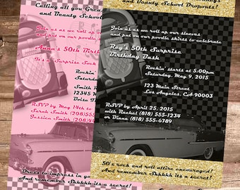 50's THEME BIRTHDAY PARTY Invitation - 4x6 Digital File