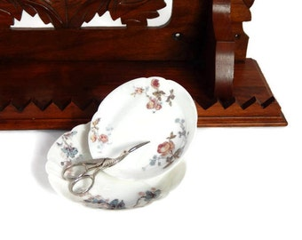 Victorian China Dish 2 Limoges Haviland China Dishes Petite Sauce Dishes Blue Poppies and Red Roses Antique Limoges Fine China Dish Bowls