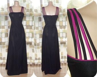 Vintage 70s Dress | 1970s Maxi Dress | Sunburst Straps | Burgundy & Black Hostess Gown | Kappi, Lord + Taylor