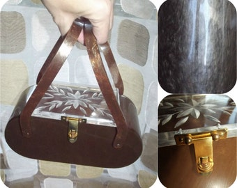 Vintage 50s Lucite Purse   1950s Lucite Box Purse   Marbleized Root Beer Sparkle   Carved Clear Top   Retro Handbag