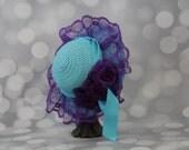 Tea Party Hat;  Blue Easter Bonnet with Ribbon; Girls Sun Hat; Blue Easter Hat; Sunday Dress Hat; Derby Hat; 16255
