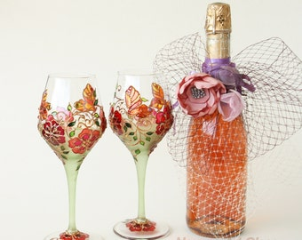Wine Glasses, Wedding Glasses, Summer Wedding Glasses, Hand  Painted, Set of 2
