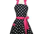 Classic Flirty Apron, Black and White polka dot apron with Pink Ties, personalized apron, sexy pin up, cute aprons, Bridal Shower Gift apron