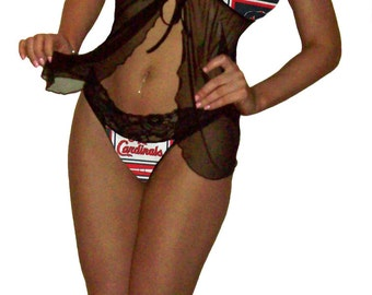 St Louis Cardinals Lace Babydoll Negligee Lingerie Teddy Set - XL Extra Large to 2X Plus Size - Please READ SIZING Info - Also in White