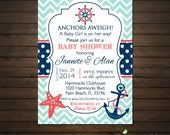 Teal and Navy Nautical Baby Shower Invitations Printable File, Chevron, Nautical Birthday, Sailboat, Anchor, Teal, Navy and Coral