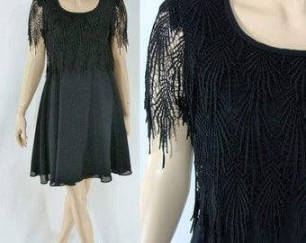 Vintage Eighties Dress - 1980s Black Cocktail Dress - 80s Mini Dress with Lace Trim - Medium