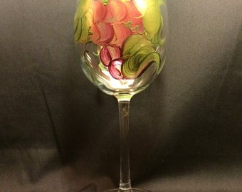 Hand Painted Wine Glass - Grapes 'n Gold EMH-2