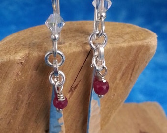 Sterling Earrings With Ruby