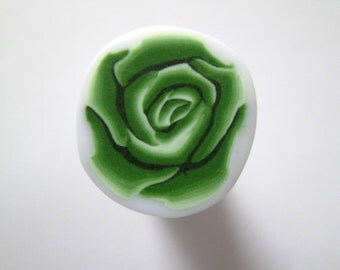 Green Cane, Rose Polymer Clay Cane, Flower Cane, Millefiori Polymer Clay Cane, Canes, Unbaked Cane, Jewelry, Nail Art, FIMO
