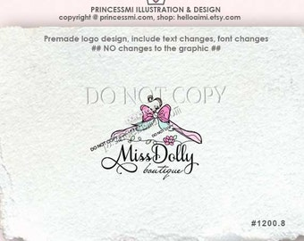 1200-8 boutique logo, sketch hanger logo with bow ribbon /custom logo Premade Logo Design Custom logo design