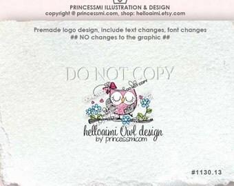 OWL logo design, cute owl logo, Custom Premade Logo Design, little owl hoot illustration, business logo by princessm  1130-13
