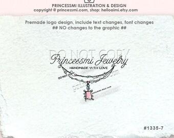 1335-7 necklace logo, Custom Premade Logo Design - jewelry logo charm Pendant necklace