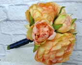 Peony bridesmaid bouquet Coral peach and navy Wedding bouquets Silk flowers