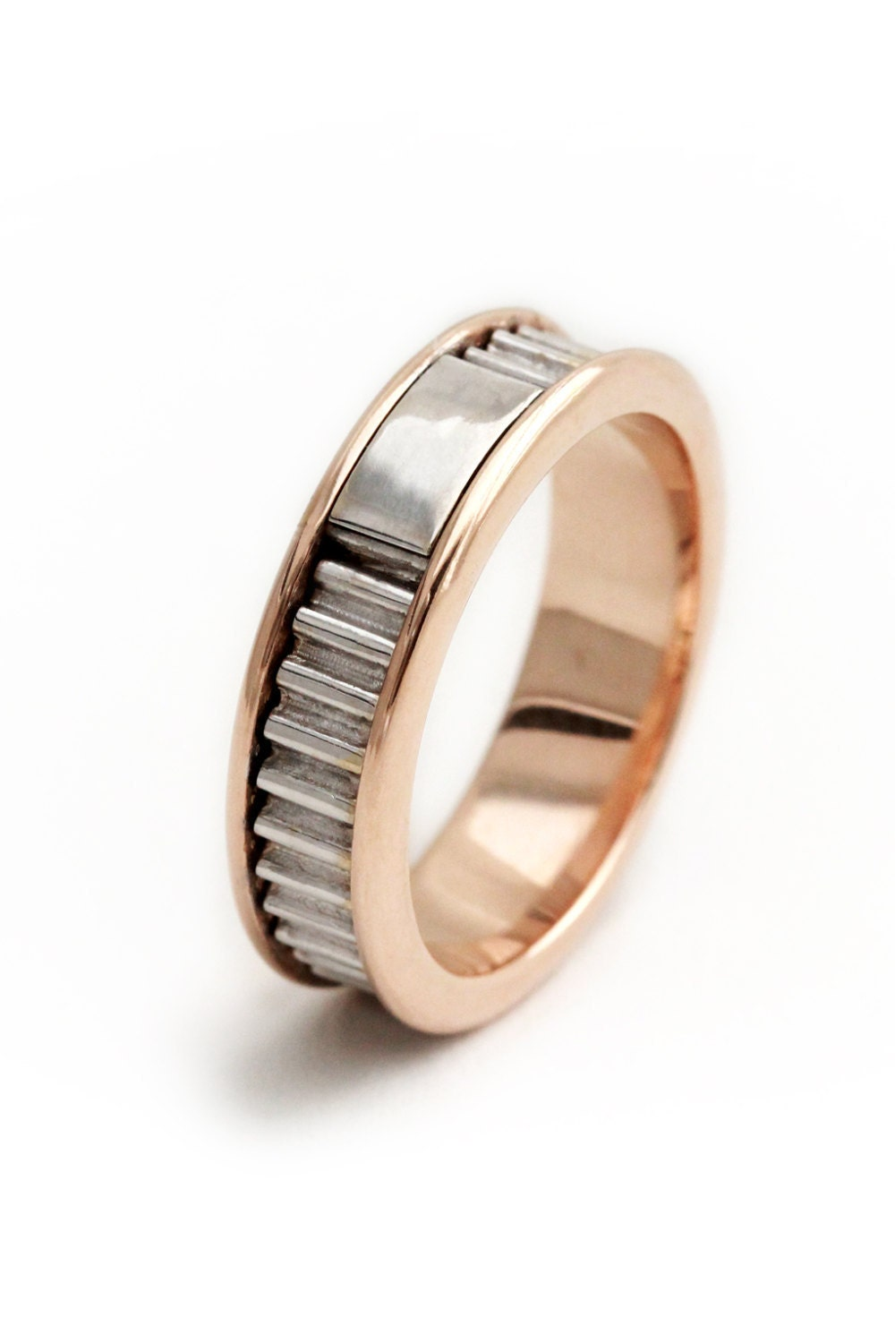14k rose gold with 14k white gold ring mens wedding band. Black Bedroom Furniture Sets. Home Design Ideas