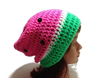 Watermelon Hat, Watermelon Slouchy Hat, Watermelon Beanie, Fruit Hat, Kawaii Watermelon Hat, Pink Fruit Hat, Hat with Button Seeds