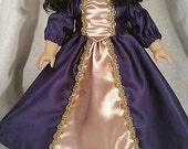 American Girl Doll Purple and Gold Merida inspired Princess Dress