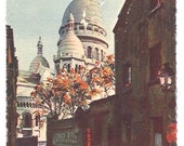 PARIS Sacré-Coeur postcard - Handwritten post card from Paris, France - Sacred Heart Basilica post cards from 1930s