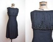 1960s Beaded black fringe cocktail dress / 60s fitted shift dress, R & K Originals label - M